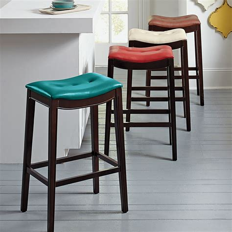 Leather Saddle Seat Counter Stool by 52 Leather Saddle Seat Bar Stools Furniture Chrome Metal