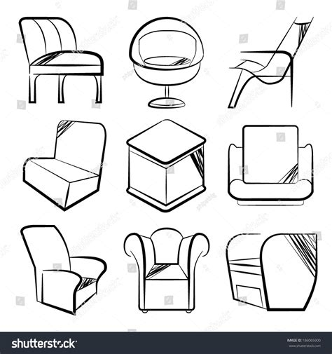 Sketch Chair Icons Set Sofa by Sketch Chair Icons Set Sofa Set Stock Vector Illustration