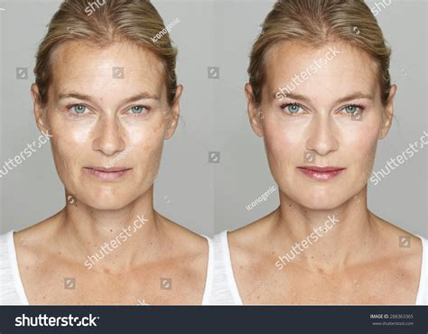 makeover for women over 55 woman before after digital makeup retouching stock foto