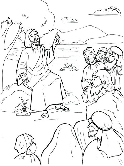 coloring page of jesus teaching jesus preaching coloring page sermont on the mount