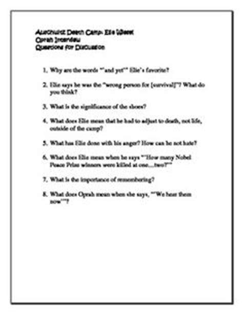 Oprah Elie Wiesel Auschwitz C Worksheet Answers