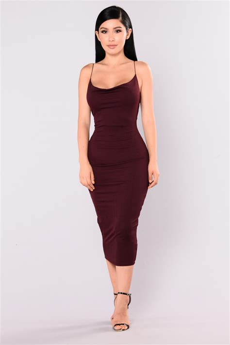 Fashion Wanita Dress Midi Dress cecilia midi dress burgundy