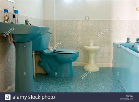 old coloured bathroom suites blue bathroom suite toilet bath and sink stock photo