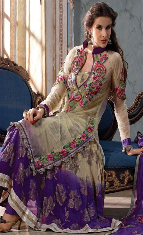 pattern baju punjabi beige and deep purple net churidar kameez 90 90 baju