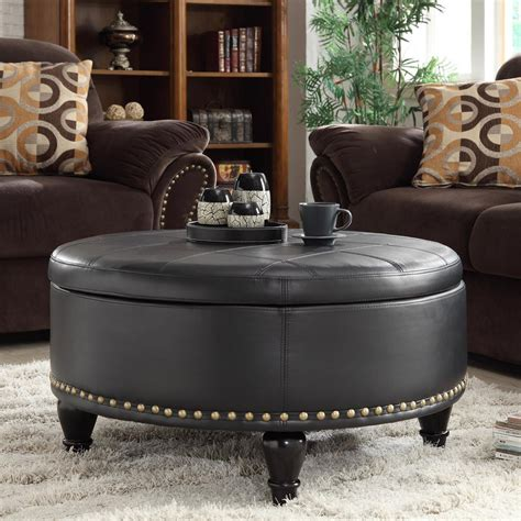 Furniture Round Grey With Tufted And Nailhead Leather Living Room Ottoman Coffee Table