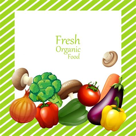 border design with fresh vegetables vector free download