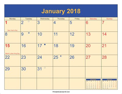 January 1 2018 Calendar January 2018 Calendar Printable With Holidays Pdf And Jpg
