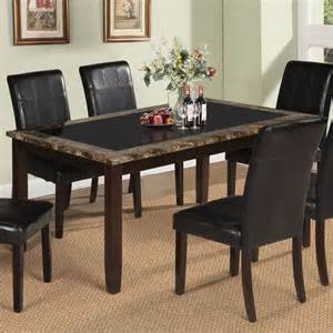 rolle dining table with tempered black glass in faux
