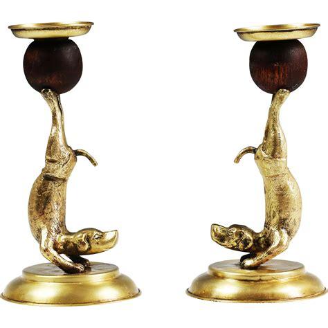 vintage arthur court candlestick holders brass dogs animal
