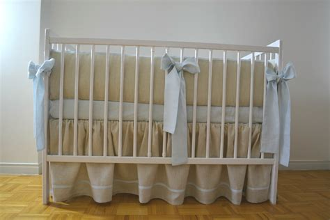 Crib Skirt And Bumper by Linen Crib Bedding Gathered Skirt And 4 Side Bumper