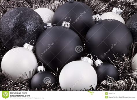 black white and taupe christmas decorations stock photo