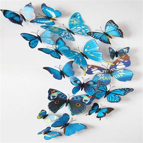 blue 12 pcs 3d butterfly 12pcs lot 3d blue butterfly fridge magnets sticker room