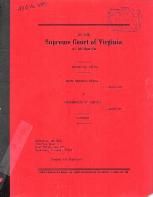 Court Records Virginia Virginia Supreme Court Records Volume 220 Virginia