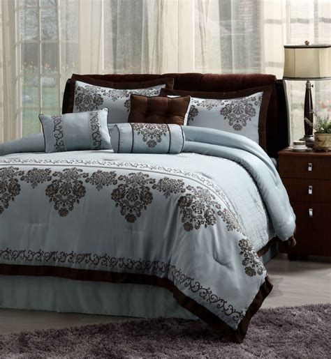 central park fontain blue 7 piece comforter set queen