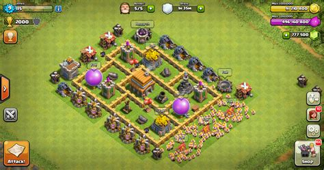 Layout Pertahanan Coc Th 5 | war base layout clash of clans th 5 design base clash of