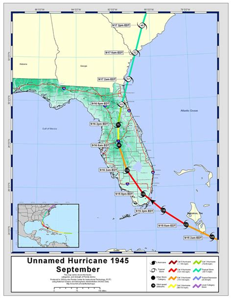 hurricane map florida tracks by name unnamed hurricane september 1945