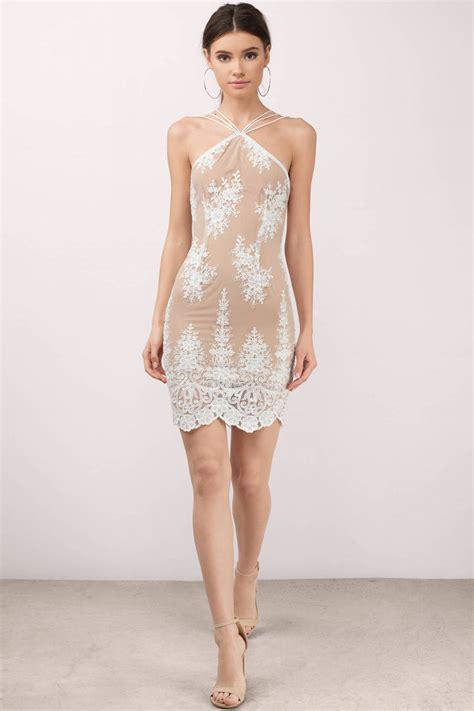 chagne color lace dress trendy white dress white dress beige lace dress