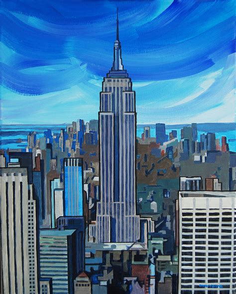 building painting empire state building painting by tommy midyette