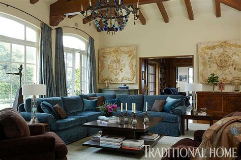 blue taupe brown traditional bedroom interior design ideas a blue bauble chandelier dazzles above a living room with