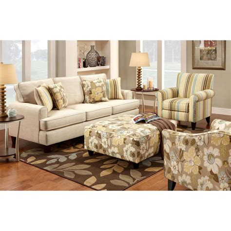 hudson fabric sofa set with floral ottoman dcg stores