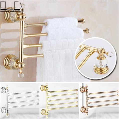 bathroom accessories towel racks luxury crystal brass movable towel holder bath towel rack