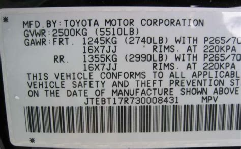 Toyota Vin Number Toyota Camry 2008 Vin Number How To Decode Your Toyota 39