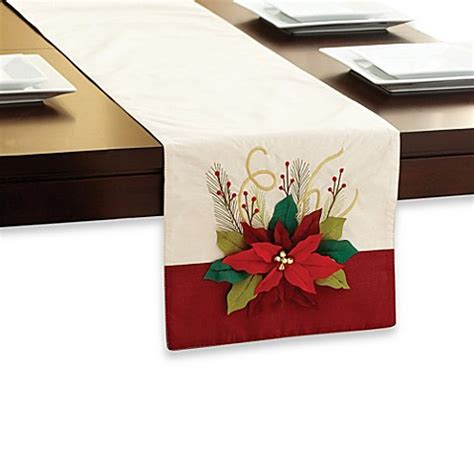 table runners bed bath and beyond floral poinsettia table runner bed bath beyond