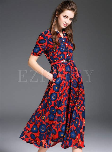 Sleeve Print A Line Dress sleeve print a line dress ezpopsy