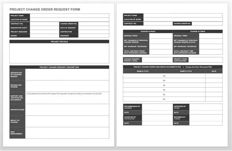 Complete Collection Of Free Change Order Forms Smartsheet Change Order Form Template Word