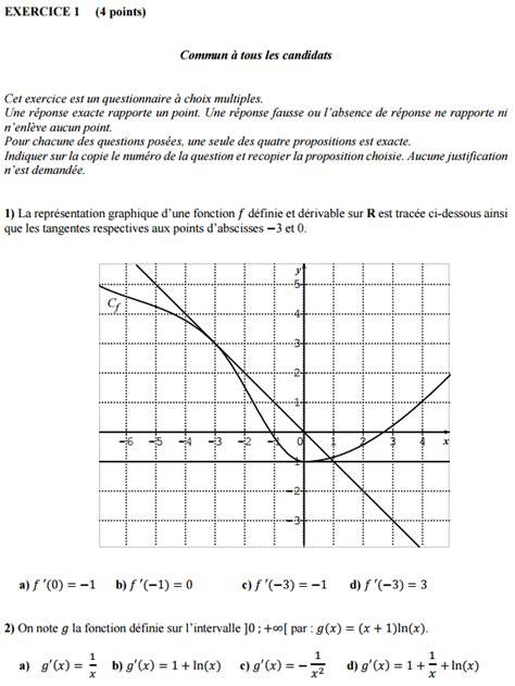 sujet corrig 233 bac es l liban 2016 de math 233 matiques