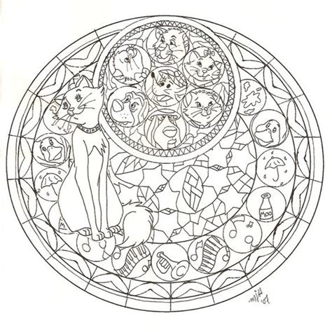 disney mandala coloring pages kh the aristocats stained no3 by cutencuddlypadfoot on