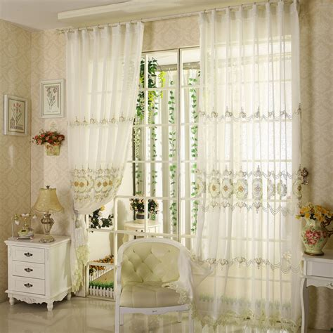 Beautiful embroidery patterned sheer curtains online