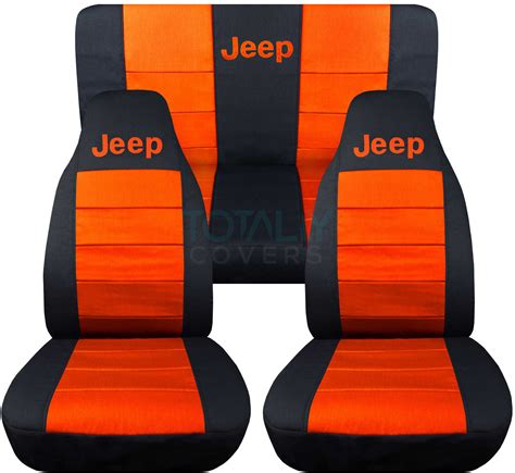 Car Seat Covers Orange And Black Jeep Wrangler Yj Tj Jk 1987 2017 2 Tone Seat Covers W Logo