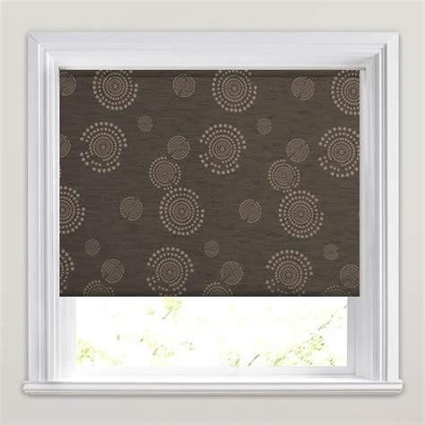 patterned blackout roller blinds golden beige mocha brown circles patterned blackout blind