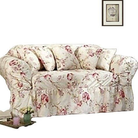 shabby sofa slipcover floral antique rose sure fit box or