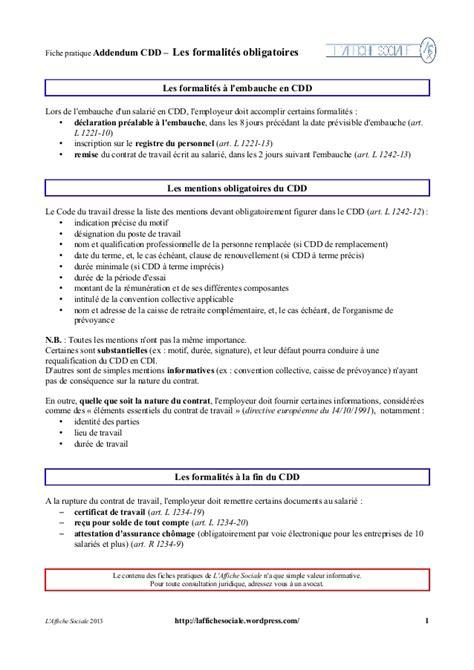 Modification Contrat De Travail Délégué Du Personnel by Fiche Cdd Addendum Formalit 233 S