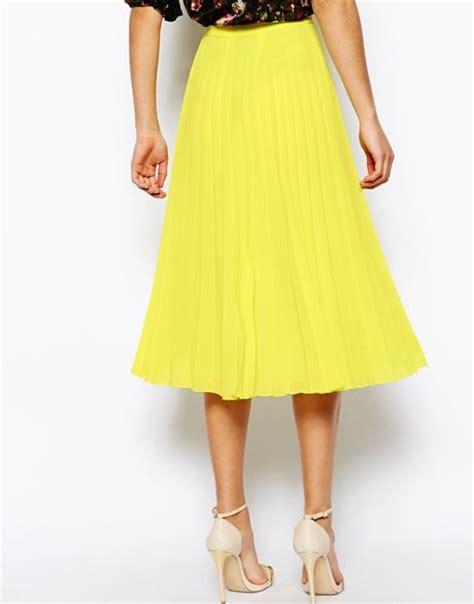 asos pleated midi skirt in yellow multi lyst