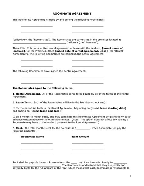roommate rental agreement template renters agreement form doc by bgf31721 roommate