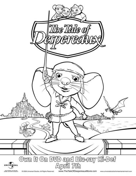 character coloring and activity pages tale of despereaux