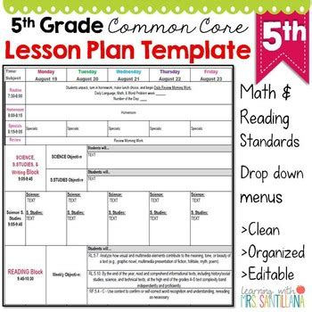 5th grade lesson plan template 5th grade common lesson plan template by math tech