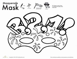 new year mask to color worksheets education