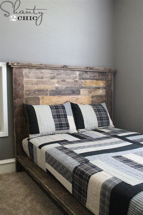 how to build bed frame and headboard diy planked headboard shanty 2 chic