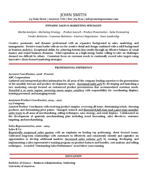 Marketing Specialist Sle Resume by Sales Marketing Specialist Resume Traditional Variation With Subtle Use Of Color No Bullet