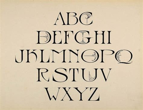 design font uppercase 1910 print design alphabet upper case art nouveau font