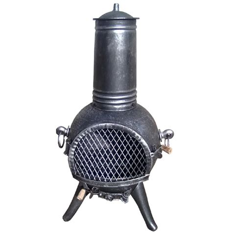 Cast Iron Chiminea For Sale terra cast iron chiminea silverblack 74cm on sale fast delivery greenfingers