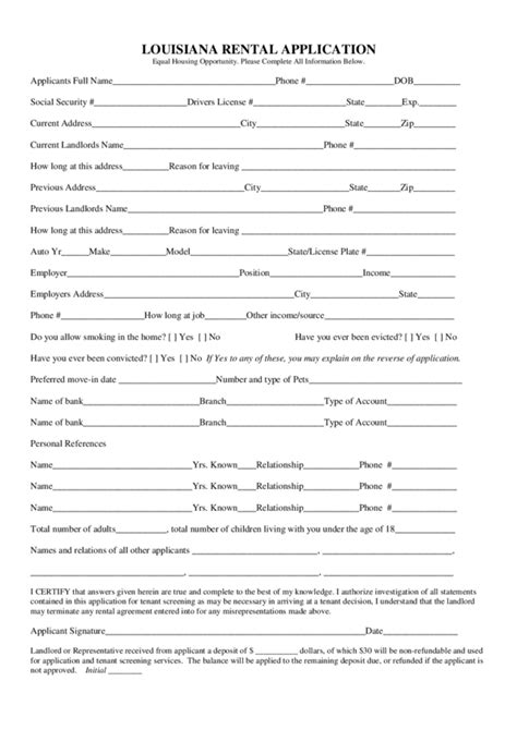Rental Credit Application Form Pdf Louisiana Rental Application Legalforms Org