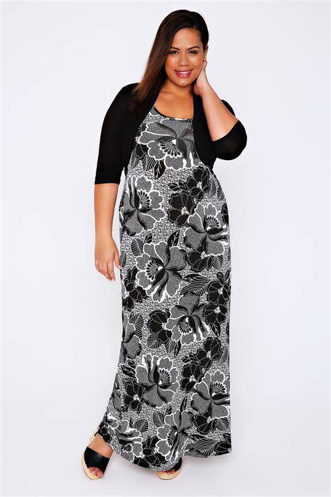 Maxi Flower Black Dress black white floral print maxi dress with black shrug plus size 16 to 32