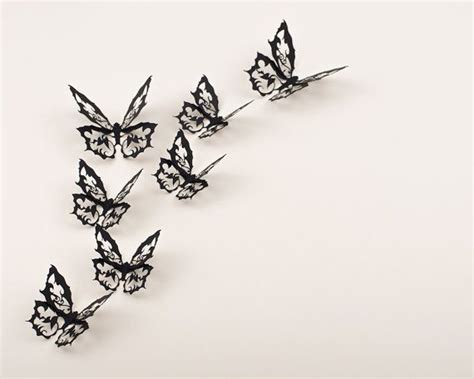 black 3d butterfly decal wall 3d wall wall butterflies ornate decor 10