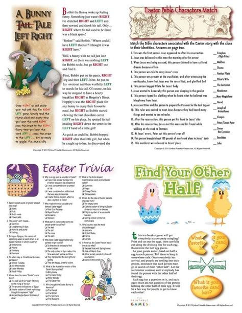 printable word trivia games easter trivia printable easter party games packet bunny
