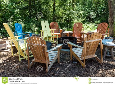 Colorful Adirondack Chairs by Colorful Adirondack Chairs Around Pit Stock Image